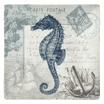 "Sea Horse Seaside Beach 8"" Plate Melamine 21542"