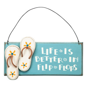 Wood Life in Flip Flops Sign 23834