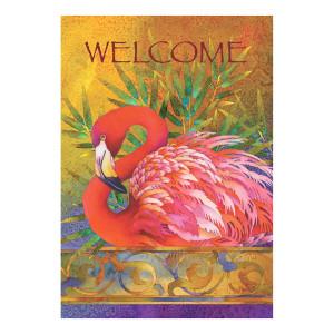 Elegant Flamingo Welcome House Size Flag - 109458
