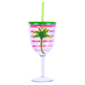 Palm Pink Stripe Insulated Plastic Wine Goblet Lid & Straw - 60600P