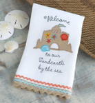 SandCastle Fun Embroidered Linen Hand Towel 4404089