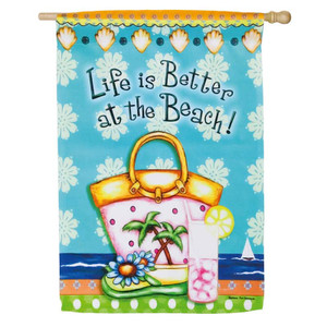 """Life is Better at Beach Summer House Flag 28"""" x 41"""" - 13S3412"""