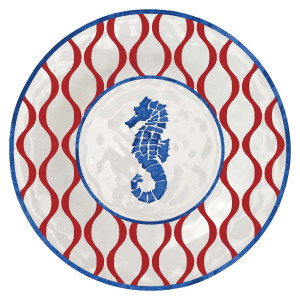 """Red White Blue Seahorse 8"""" Lunch Plate Melamine 21587"""