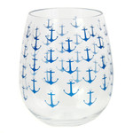 Anchor Ahoy Acrylic Stemless Wine Glass - 20449