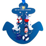 Nautical Ship Anchor Wine Charms Art Glass Markers Set of 6 - 20419