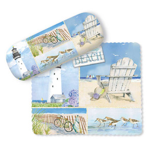 Beach Collage Art Scenes Eyeglass Case with Cleaning Cloth - 804-88