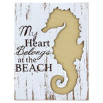 Seahorse Heart at Beach Wooden Sign - 16104S