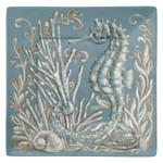 "Seahorse Ocean Wonder 8"" Square Lunch Plate Melamine 21283"