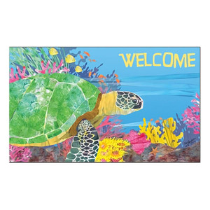 """Sea Turtle Welcome Floor Mat 18"""" x 30"""" MatMates 11376D"""