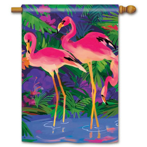 Happy Pink Flamingos House Flag 96057