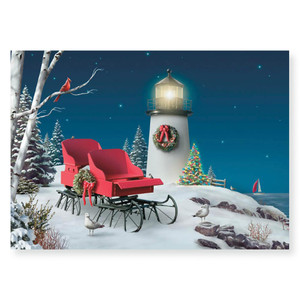 Oceanside Lighthouse Holiday 5x7 Christmas Card 16 Count 25-448