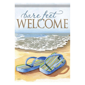 Bare Feet Welcome Flip Flop House Size Flag - 48081