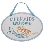 "Mermaids Welcome Wood 14"" x 9"" Sign - 27537"