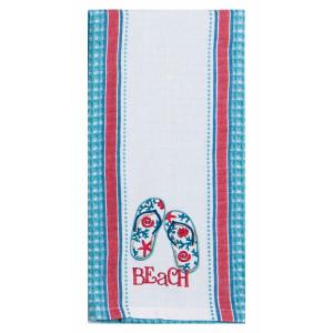 Beach Flip Flops Embroidered Cotton Tea Towel - R3278
