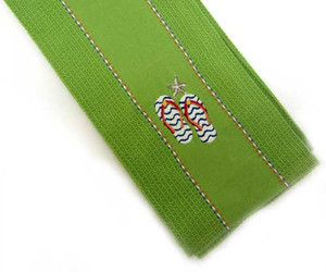 Green Flip Flop Star Embroidered Dish Towel 22661