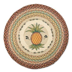 "Pineapple 27"" Hand Printed Round Braided Floor Rug RP-375"