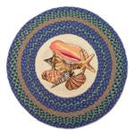 "Sea Shells 27"" Hand Printed Round Braided Floor Rug RP-353"