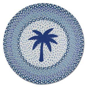 "Blue Palm Tree 27"" Hand Printed Round Braided Floor Rug RP-525"