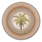 "Palm Tree 27"" Hand Printed Round Braided Floor Rug RP-023"