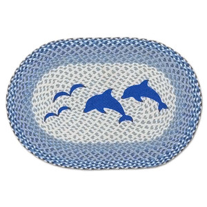 Blue Dolphin 20x30 Hand Printed Oval Braided Floor Rug OP-525