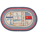 Boating Lighthouse 20x30 Hand Printed Oval Braided Floor Rug OP-458