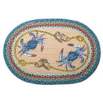 Blue Crabs 20x30 Hand Printed Oval Braided Floor Rug OP-359