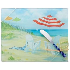 Glass Screen Cutting Board & Spreader Knife 10x8in PB-004