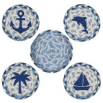 "Coastal Coasters by Earth Rugs - 5"" - CNB-525 - Blue"