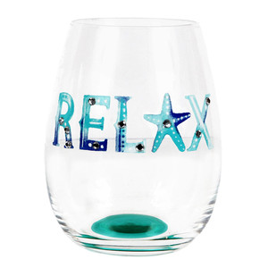 Relax Watercolor Words Stemless Wine Glass 20120R