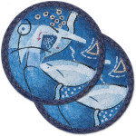 "Abstract Ocean Themed Trivet - SET OF TWO - 7"" - A-02"