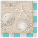 "Beach House 5"" SQ Beverage Napkin 24 Count 15-221"