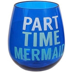 Beach Saying Blue Shatterproof Mermaid Stemless Wine Glass - 20103P
