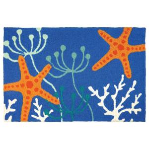 Starfish Royal Blue Indoor Outdoor Washable Rug
