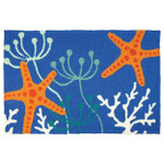 Starfish Royal Blue Indoor Outdoor Washable Rug
