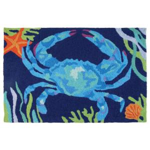 Deep Blue Crab Indoor Outdoor Washable Rug