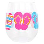 Stemless Colorful Flip Flop Shatterproof Wine Glass