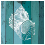 Shell on Blue Single Absorbent Coaster - SB73385