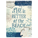 """Life is better at the Beach - Sea Shell Garden Flag - 12.5"""" x 18"""" - 46469"""