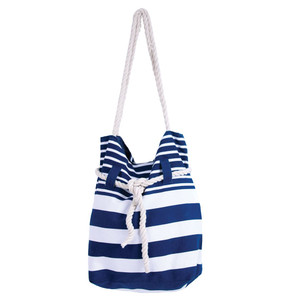 Blue and White Stripe Cotton Canvas Beach Tote Bag