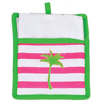 Palm Tree Pot Holder with White Towel Gift Set - 60586A