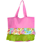 Pink Ruffle Hibiscus Pattern Cotton Canvas Tote Bag