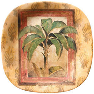 """Palm Tree Brown 8"""" Lunch Plate Melamine 25730"""