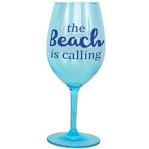 """The Beach is Calling"" Shatterproof Acrylic Wine Glass - 20853C"