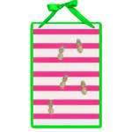 Pink Striped Magnetic Wall Board Sign with Pineapple Magnets 60571A