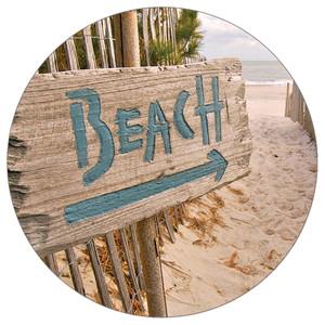 This Way Arrow Beach - Stone Car Coaster CB72761