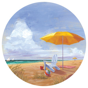 Yellow Umbrella Chair Dunes Absorbent Stone Car Coaster CB73133
