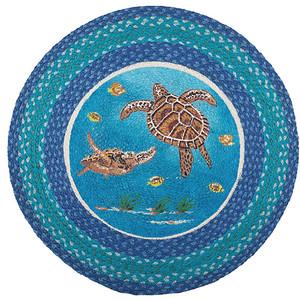 Sea Turtle 27inch Hand Printed Round Braided Floor Rug RP-384