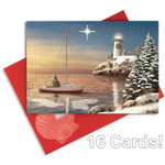 Lighthouse Sailboat Beach Christmas Cards with Glitter and Reflective Glow - 16 per Box  27-104