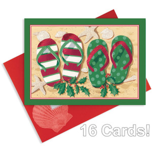 """Christmas Cards """"Holiday Flip Flops"""" with Foil and Glitter - Box of 16 - 27-108"""