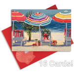 "Christmas Cards ""Tropical Holiday"" with Glitter and Foil - Box of 16 - 27-097"